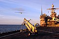 US Navy 110225-N-RC734-356 A Scan Eagle unmanned aerial vehicle (UAV) launches from the amphibious dock landing ship USS Comstock (LSD 45).jpg