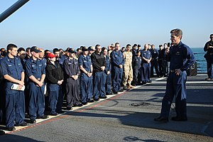US Navy 111208-N-NP071-026 The commodore speaks to Sailors during an all-hands call.jpg