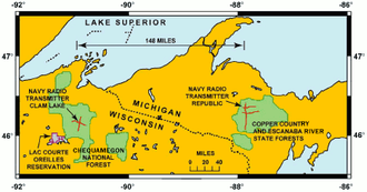 Ground dipole - Map showing location of the US Navy ELF transmitters.  The red lines show the paths of the ground dipole antennas.  The Clam Lake facility (left) had two crossed 14 mi. ground dipoles.  The Republic facility had two 14 mi. dipoles oriented east-west, and one 28 mi. dipole oriented north-south.
