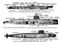 US Navy submarine types of 1940s and 1950s drawing 1967.png