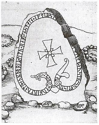 Gardarike runestones - Runestone U 283 in a 17th-century drawing