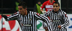 Alexis Sánchez - Sánchez (right) and fellow Chilean Mauricio Isla in a UEFA Cup match against Spartak Moscow, on 6 November 2008.