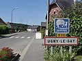 Ugny-le-Gay (Aisne) city limit sign.JPG
