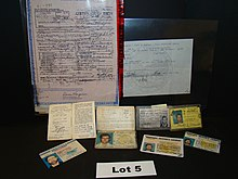 Photograph of Kaczynski's birth certificates and drivers licenses