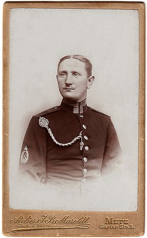 German Armed Forces Badge of Marksmanship -  Corporal from a Prussian infantry regiment wearing a Schützenschnur in 1894