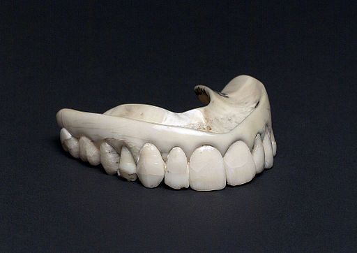 Upper ivory denture with human teeth, England, 1801-1860 Wellcome L0058131