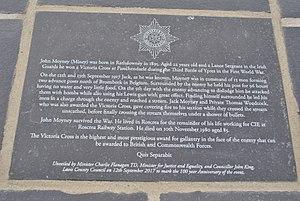 John Moyney - Upper plaque on the memorial to John Moyney, V.C, on Mill Road, Rathdowney, co. Laois.