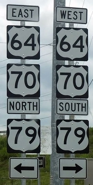 U.S. Route 79 - Directional assembly for U.S. Highways 64, 70, and 79 in Memphis, Tennessee.