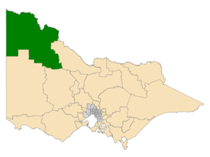 Electoral district of Mildura - Location of Mildura (dark green) in Victoria