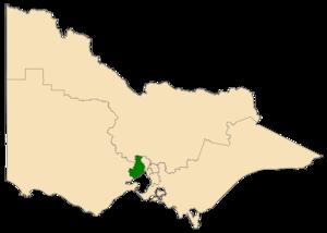 Western Metropolitan Region - Location of Western Metropolitan Region (dark green) in Victoria