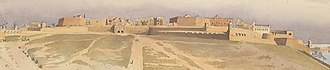 Fortifications of Valletta - Detail from an 1858 painting by Edward Fanshawe, showing the Valletta Land Front
