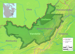 Ohio Company - This map shows the Grand Ohio Company's proposed colony of Vandalia.