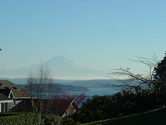View Ridge, Seattle - The view of Mount Rainier and Lake Washington from NE 68th St and 52nd Ave NE