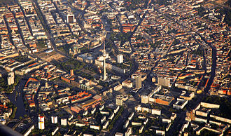 Alexanderplatz - Aerial view with the TV tower