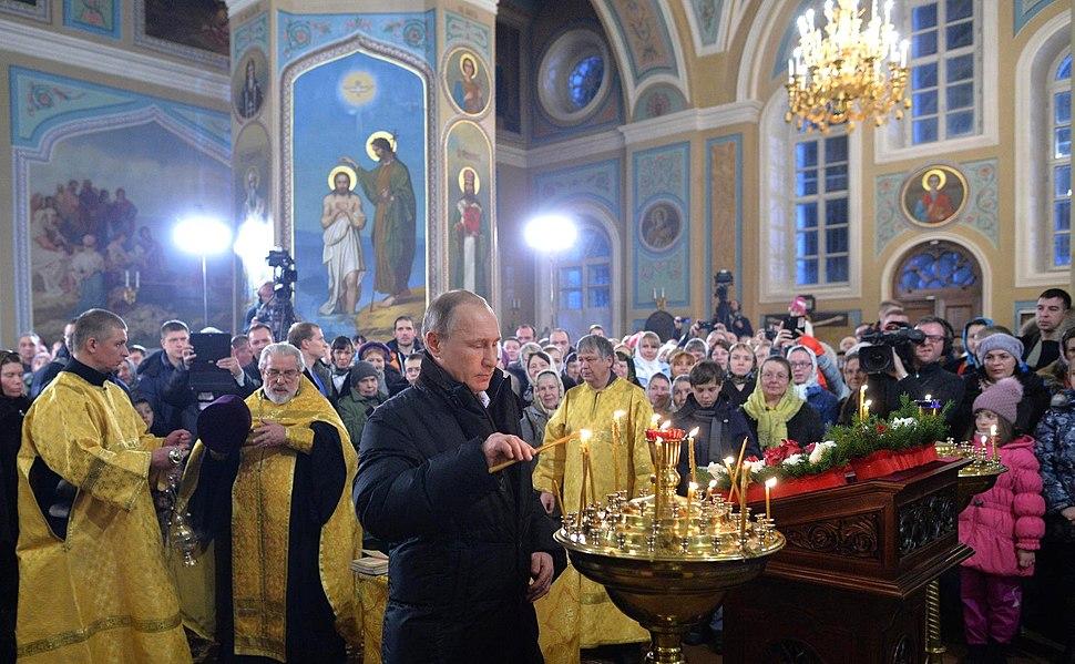 Vladimir Putin in Pokrova Church (Turginovo) 03