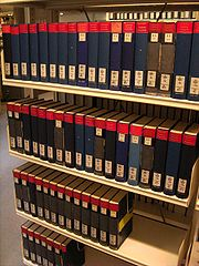 The volumes of the Allgemeine Deutsche Biographie.