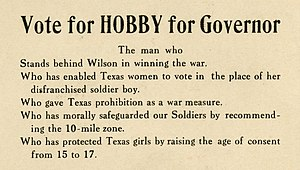 William P. Hobby - Campaign card for William Pettus Hobby