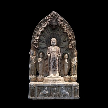 """Buddhist votive altar with the historical Buddha in his """"celestial body"""" surrounded by monks and bodhisattva, and on the obverse with Maitreya"""