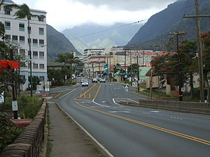 Wailuku, looking from the Wai'ale Drive Bridge towards ʻĪao Valley.