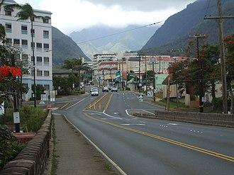Wailuku, Hawaii - Wailuku, looking from the Wai'ale Drive Bridge towards {{okina}}Īao Valley.