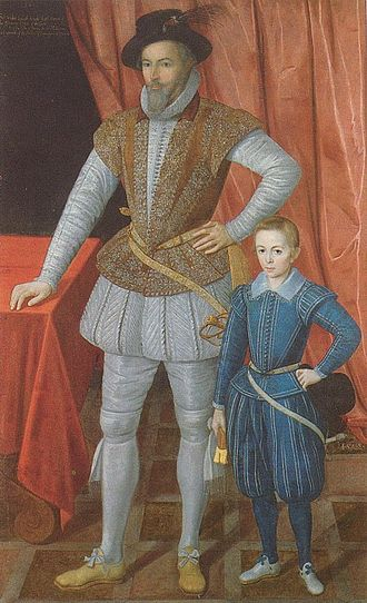 Raleigh and his son Walter in 1602 WalterRaleighandson.jpg