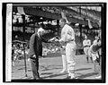 Walter Johnson, 20th yr. celebration, Kellogg presenting medal, 8-2-27 LCCN2016843182.jpg