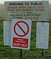 Warning signs at entry to Larkhill Artillery Range - geograph.org.uk - 301335.jpg