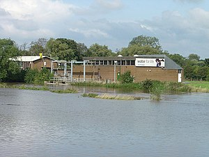 Water extraction - Water extraction plant alongside the flooding River Dove near Egginton, England, UK