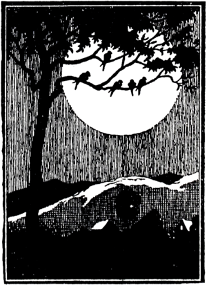 Black and white drawing; a tree with birds sitting on its branches is silhouetted against a full moon, with distant hills rolling at the base of the image.