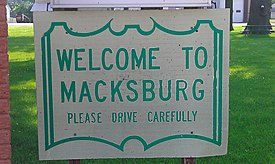 Welcome sign in city park, Macksburg, Iowa - 20110709.jpg