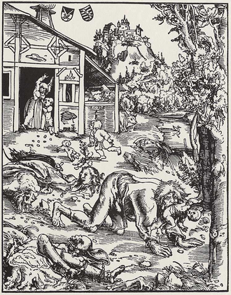 Werewolf - Woodcut of a werewolf attack by Lucas Cranach der Ältere, 1512