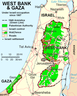 Green: Areas of Palestinian National Authority control (in the West Bank) and Hamas government control (Gaza Strip) as of 2007.
