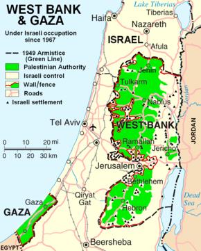 kart over vestbredden Midtøsten konflikten – Wikipedia kart over vestbredden
