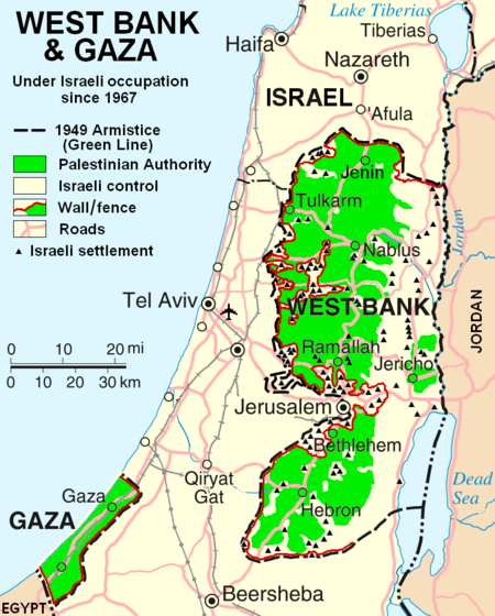 Map Showing Israel and Palestinian Areas