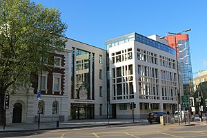 Westminster Magistrates' Court - The new (2011) court building in Marylebone Road incorporates the façade of the old Marylebone Magistrates Court (left)