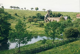 Wharram Percy - View north across the fish pond to the deserted village