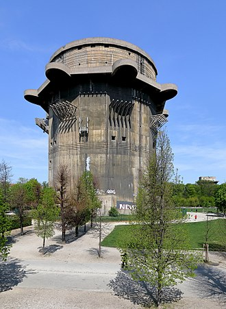 Flak tower - The 'G-Tower' at Augarten, Vienna and right behind the 'L-Tower'.