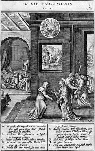 Wierix family - Scenes from the Life of the Virgin from the Adnotationes illustrations, 1593. Nativity of Mary left rear, Meeting of Mary and Elizabeth, foreground.