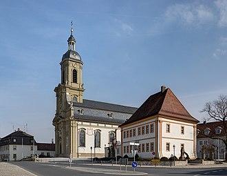 Wiesentheid - Wiesentheid, church and vicarage.