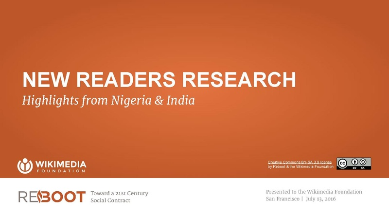 File:Wikimedia Foundation and Reboot New Readers Research - Nigeria & India Highlights - July 2016.pdf