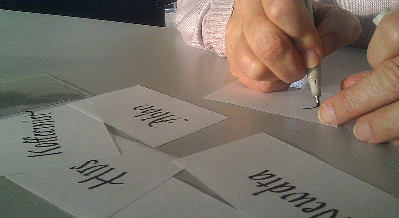 File:Wikisource meeting 2013 handwriting ID cards IMAG3029.jpg