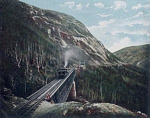 Mountain Division - Crossing the Willey Brook Bridge towards Crawford Notch in 1906