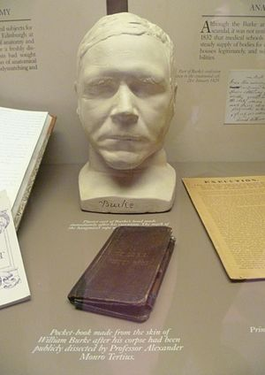 Surgeons' Hall - Burke's death mask and pocket book