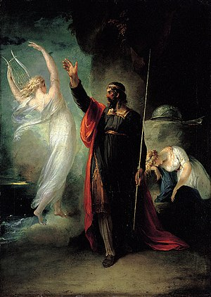 Ariel (The Tempest) - Ariel taking on an illusionary form, at Prospero's command, depicted by William Hamilton