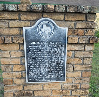Willis, Texas - Willis Cigar Factory. Texas Historic Marker, N. Bell St., Willis, TX