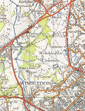 Wimbledon Common - A map of Wimbledon common from 1944