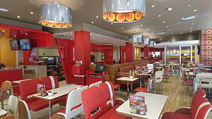 Wimpy (restaurant) - An interior view of a Wimpy in South Africa. Note the distinctive US-style diner inspired design.
