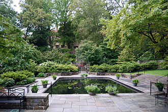 Marian Cruger Coffin - The Reflecting Pool at Winterthur, designed by Coffin for the du Ponts as their family swimming pool with a grand staircase leading down from the East Terrace