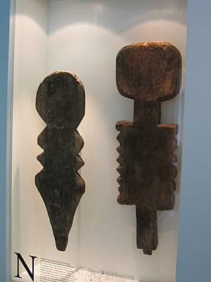 Anthropomorphic wooden cult figurines of Central and Northern Europe - Female (left) and male (right) plank figures (Type 3) from the Wittemoor timber trackway
