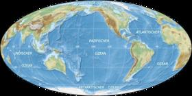 World oceans map mollweide de